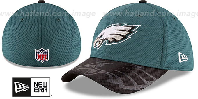 Eagles 'STADIUM TRAINING FLEX' Green-Black Hat by New Era : pictured without stickers that these products are shipped with