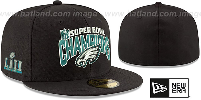 Philadelphia Eagles SUPER BOWL LII CHAMPS Black Fitted Hat 931c1e41a