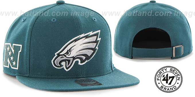 Eagles 'SUPER-SHOT STRAPBACK' Green Hat by Twins 47 Brand : pictured without stickers that these products are shipped with