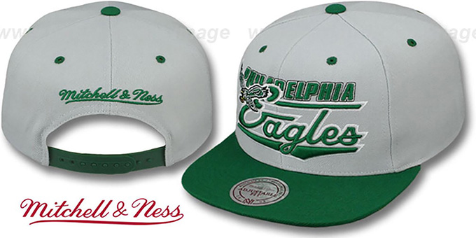 Eagles 'TAILSWEEP SNAPBACK' Grey-Green Hat by Mitchell and Ness : pictured without stickers that these products are shipped with