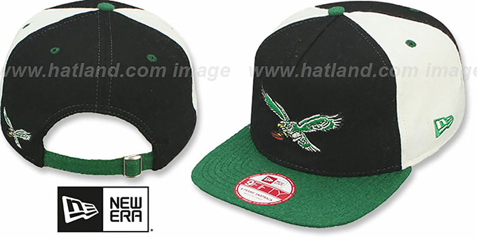 Eagles TB 'TRIPLE MELTON STRAPBACK' Black-White-Green Hat by New Era : pictured without stickers that these products are shipped with