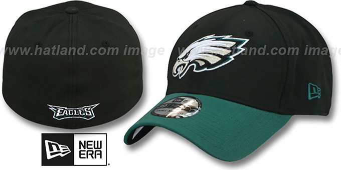 Eagles 'TD CLASSIC FLEX' Black-Green Hat by New Era : pictured without stickers that these products are shipped with