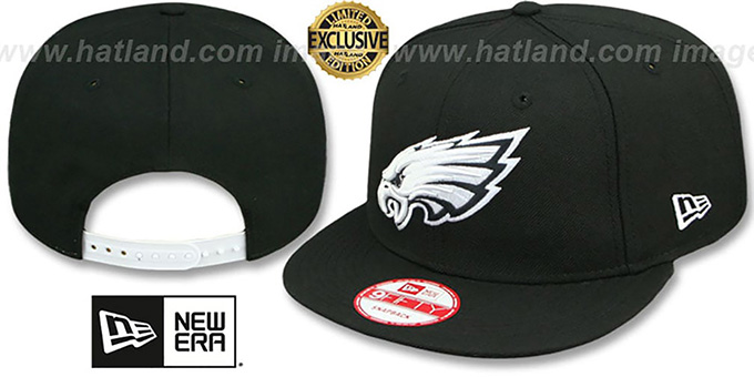 Eagles 'TEAM-BASIC SNAPBACK' Black-White Hat by New Era : pictured without stickers that these products are shipped with
