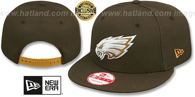 Eagles 'TEAM-BASIC SNAPBACK' Brown-Wheat Hat by New Era : pictured without stickers that these products are shipped with