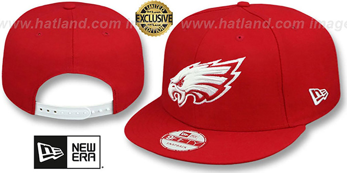 Eagles 'TEAM-BASIC SNAPBACK' Red-White Hat by New Era : pictured without stickers that these products are shipped with