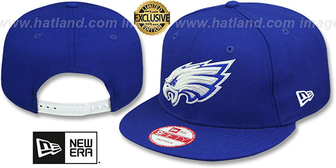 Eagles 'TEAM-BASIC SNAPBACK' Royal-White Hat by New Era : pictured without stickers that these products are shipped with