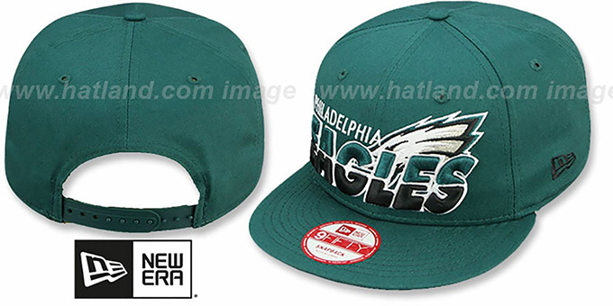 Eagles 'TEAM-HORIZON SNAPBACK' Green Hat by New Era : pictured without stickers that these products are shipped with