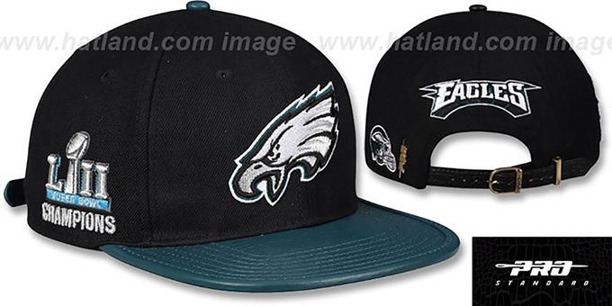 0955ac57e51f81 Eagles 'TEAM LOGO SUPER BOWL LII CHAMPS STRAPBACK' Black-Green Hat by Pro