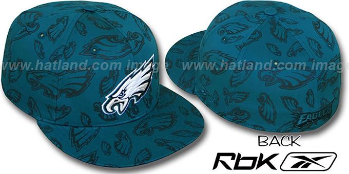 Eagles 'TEAM-PRINT ALL-OVER' Green Fitted Hat by Reebok : pictured without stickers that these products are shipped with
