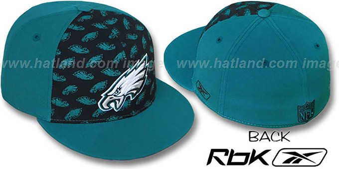 Eagles 'TEAM-PRINT PINWHEEL' Black-Green Fitted Hat by Reebok : pictured without stickers that these products are shipped with