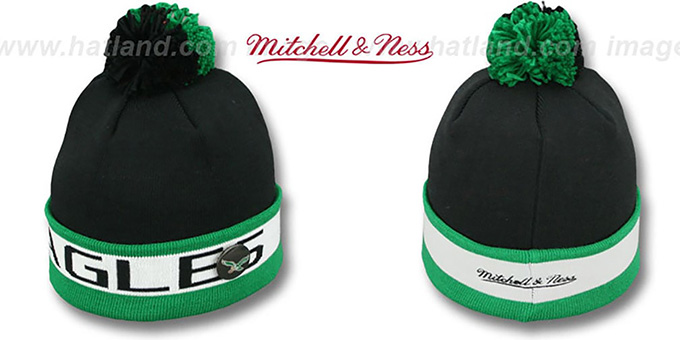 Eagles 'THE-BUTTON' Knit Beanie Hat by Michell & Ness : pictured without stickers that these products are shipped with