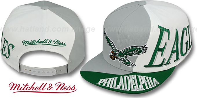 Eagles 'THE SKEW SNAPBACK' Hat by Mitchell & Ness : pictured without stickers that these products are shipped with