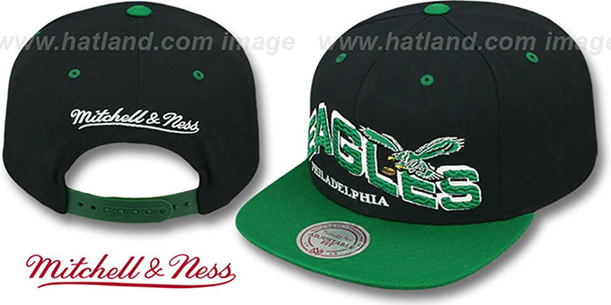 Eagles 'THE-WAVE SNAPBACK' Black-Green Hat by Mitchell and Ness : pictured without stickers that these products are shipped with
