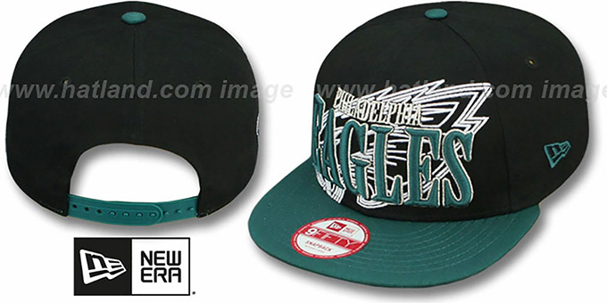 Eagles 'THROUGH SNAPBACK' Black-Green Hat by New Era : pictured without stickers that these products are shipped with