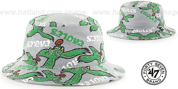Eagles 'THROWBACK BRAVADO BUCKET' Hat by Twins 47 Brand : pictured without stickers that these products are shipped with