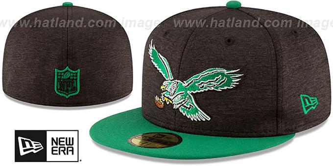81cd41dec3aeb Philadelphia Eagles THROWBACK HEATHER-HUGE Black-Green Fitted Hat