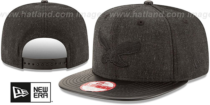 Eagles 'THROWBACK LEATHER-MATCH SNAPBACK' Black Hat by New Era : pictured without stickers that these products are shipped with