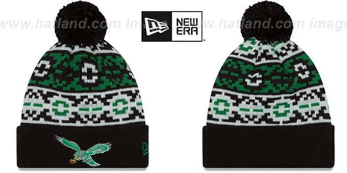 Eagles 'THROWBACK RETRO CHILL' Knit Beanie Hat by New Era : pictured without stickers that these products are shipped with