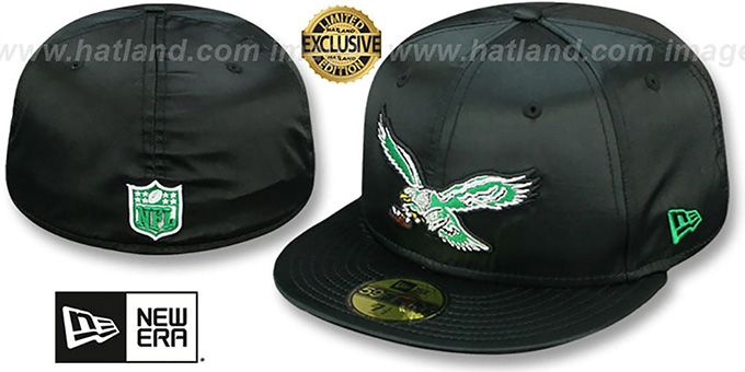 88c553ed72b67 Philadelphia Eagles THROWBACK SATIN BASIC Black Fitted Hat