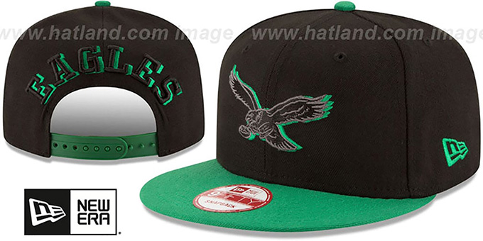 Eagles 'THROWBACK SHADOW SLICE SNAPBACK' Black-Green Hat by New Era : pictured without stickers that these products are shipped with