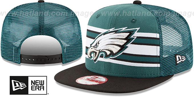 Eagles 'THROWBACK-STRIPE SNAPBACK' Green-Black Hat by New Era : pictured without stickers that these products are shipped with