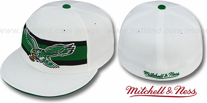 Eagles 'THROWBACK TIMEOUT' White Fitted Hat by Mitchell & Ness : pictured without stickers that these products are shipped with
