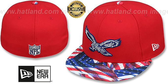 Eagles 'THROWBACK USA WAVING-FLAG' Red Fitted Hat by New Era : pictured without stickers that these products are shipped with