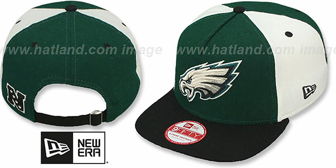Eagles 'TRIPLE MELTON STRAPBACK' Green-White-Black Hat by New Era : pictured without stickers that these products are shipped with