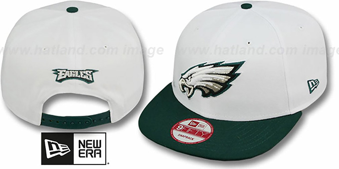 Eagles 'WHITETOP SNAPBACK' White-Green Hat by New Era : pictured without stickers that these products are shipped with