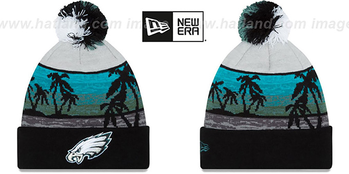 Eagles 'WINTER BEACHIN' Knit Beanie Hat by New Era : pictured without stickers that these products are shipped with