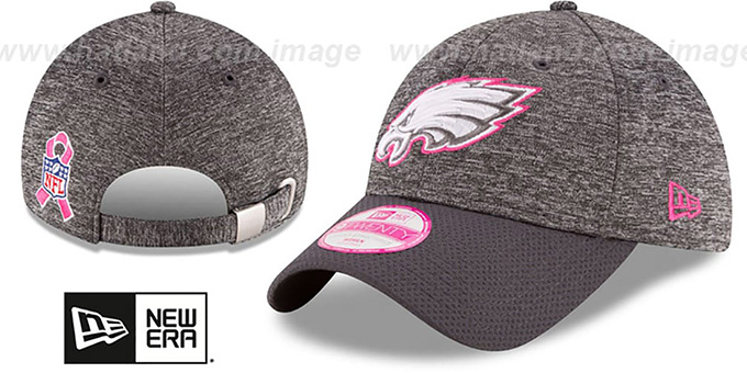 Eagles 'WOMENS 2016 BCA STRAPBACK' Grey-Grey Hat by New Era : pictured without stickers that these products are shipped with