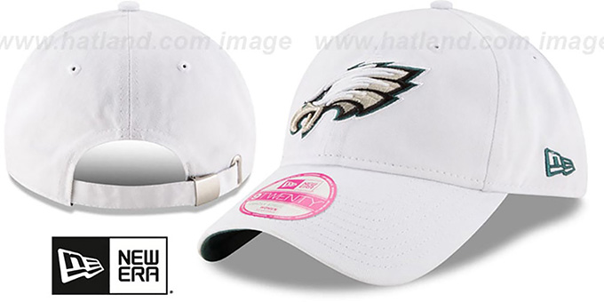 Eagles 'WOMENS PREFERRED PICK STRAPBACK' White Hat by New Era : pictured without stickers that these products are shipped with