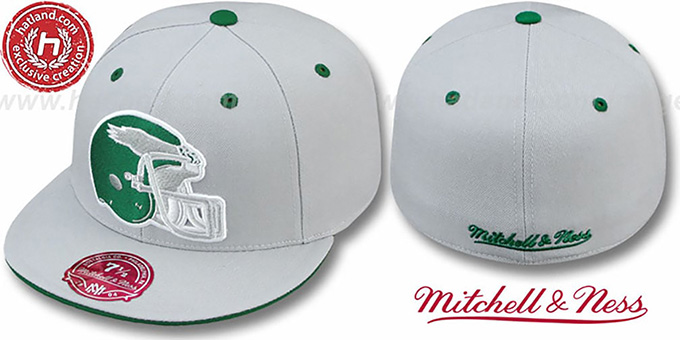 Eagles 'XL-HELMET' Grey Fitted Hat by Mitchell & Ness : pictured without stickers that these products are shipped with