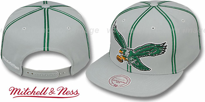 Eagles 'XL-LOGO SOUTACHE SNAPBACK' Grey Adjustable Hat by Mitchell & Ness : pictured without stickers that these products are shipped with