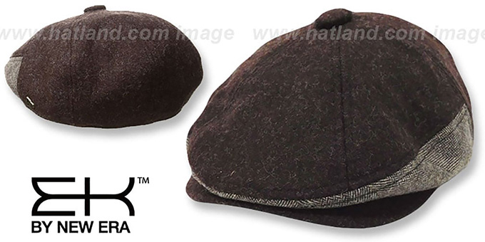 EK 'HERRING-HYBRID NEWSBOY' Brown Hat by New Era : pictured without stickers that these products are shipped with
