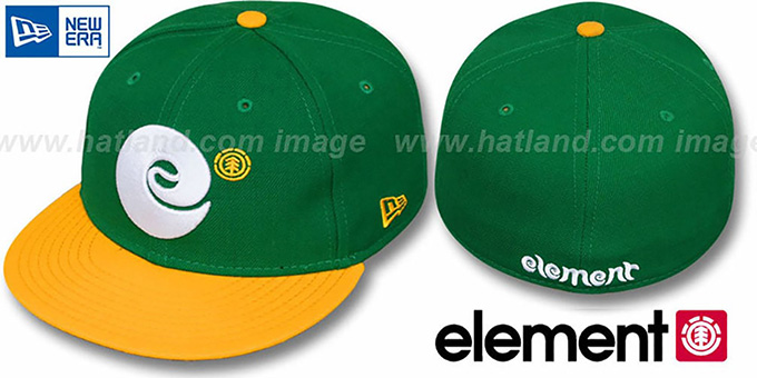 Element 'BULL PIN' Green-Gold Fitted Hat by New Era : pictured without stickers that these products are shipped with