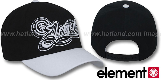 Element 'GOON' Black-White Adjustable Hat : pictured without stickers that these products are shipped with