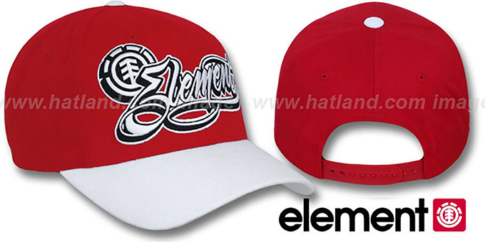Element 'GOON' Red-White Adjustable Hat : pictured without stickers that these products are shipped with