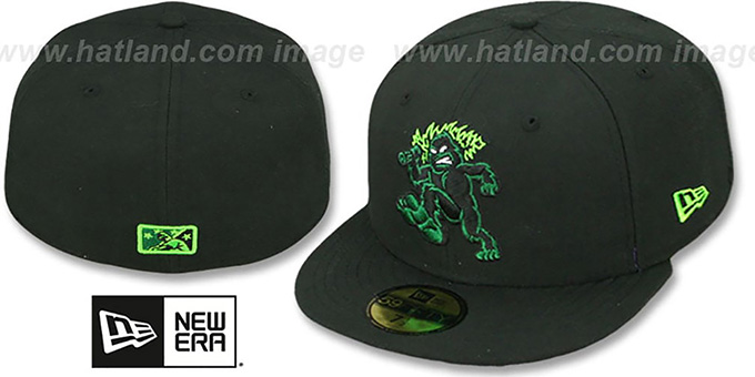 Emeralds 'PERFORMANCE HOME' Black Fitted Hat by New Era : pictured without stickers that these products are shipped with