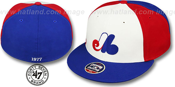 Expos '1977 COOPERSTOWN' Fitted Hat by Twins 47 Brand : pictured without stickers that these products are shipped with