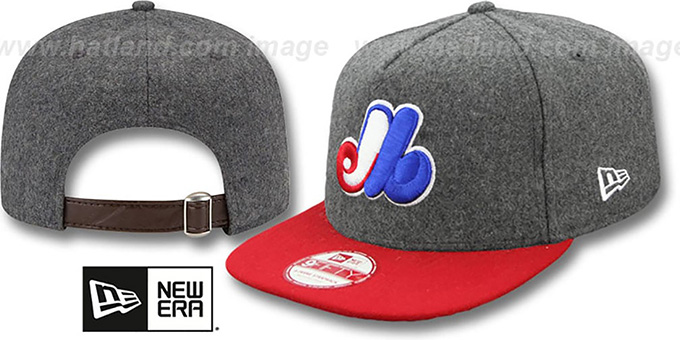 Expos '2T COOP MELTON A-FRAME STRAPBACK' Hat by New Era : pictured without stickers that these products are shipped with