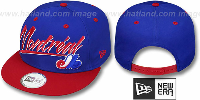 Expos '2T COOP RETRO-WORD SNAPBACK' Royal-Red Adjustable Hat by New Era : pictured without stickers that these products are shipped with