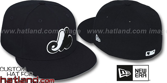 Expos Black-White '59FIFTY' Fitted Hat by New Era : pictured without stickers that these products are shipped with