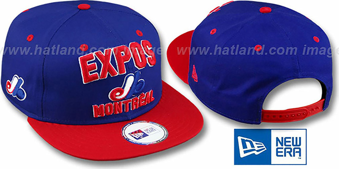 Expos COOP '2T PAYDIRT SNAPBACK' Royal-Red Adjustable Hat by New Era : pictured without stickers that these products are shipped with