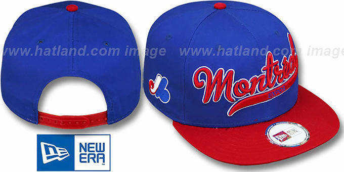 Expos COOP '2T SCRIPTER SNAPBACK' Royal-Red Hat by New Era : pictured without stickers that these products are shipped with