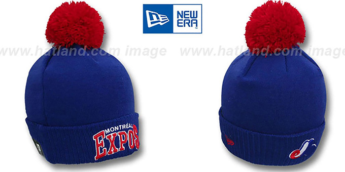 Expos COOP 'ARCHED-RIBBED' Royal Knit Beanie Hat by New Era : pictured without stickers that these products are shipped with