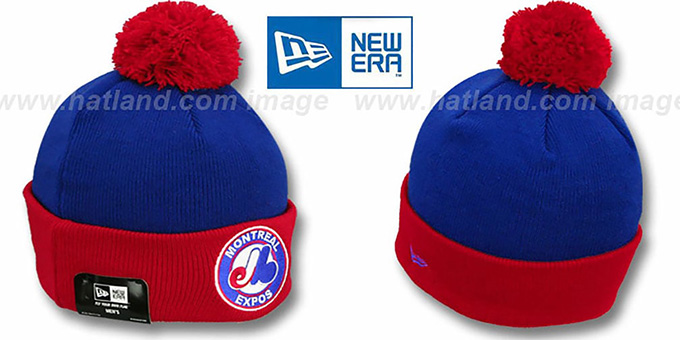 Expos COOP 'CIRCLE' Royal-Red Knit Beanie Hat by New Era : pictured without stickers that these products are shipped with