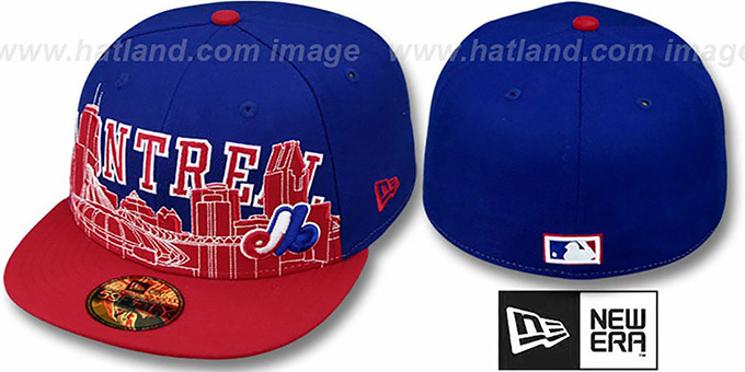 Expos COOP 'CITY-LINE' Royal-Red Fitted Hat by New Era : pictured without stickers that these products are shipped with