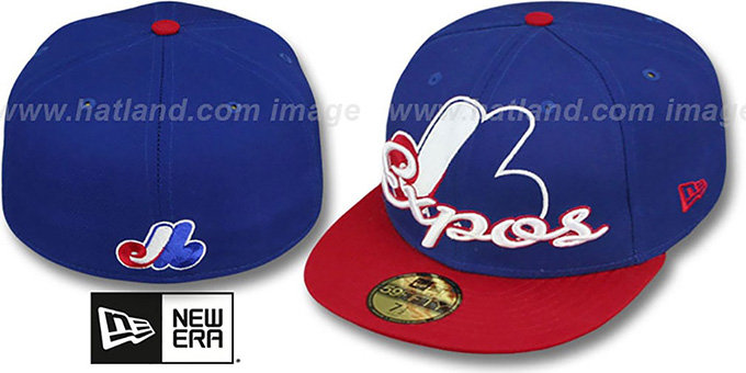 2a3f33631b4 Montreal Expos COOP SCRIPT-PUNCH Royal-Red Fitted Hat