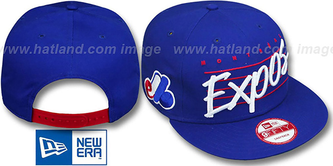 Expos COOP 'SCRIPTLINER SNAPBACK' Royal Adjustable Hat by New Era : pictured without stickers that these products are shipped with